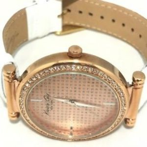 Kenneth Cole Watch Ladies Rose Tone White Band